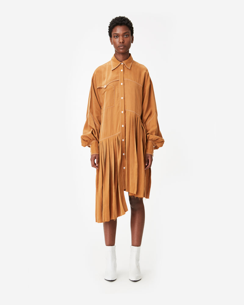Western Pleated Cupro Shirt Dress