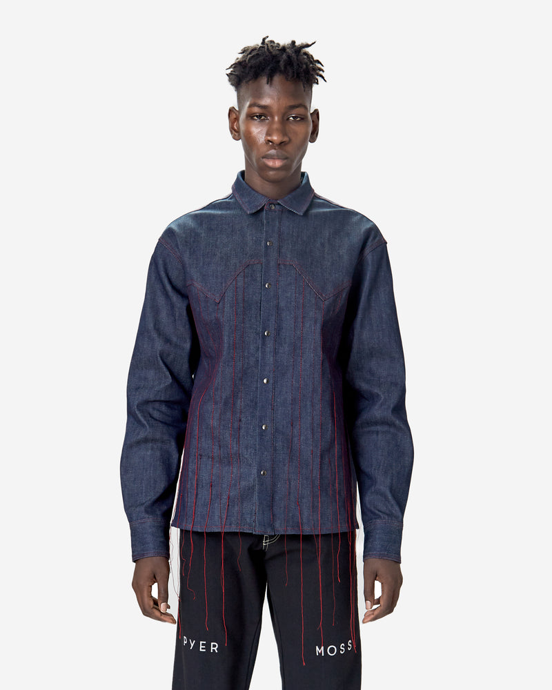 Running-stitch Western Denim Shirt