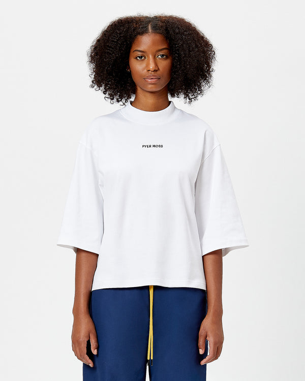 Classic Logo Cropped Mock Neck Tee