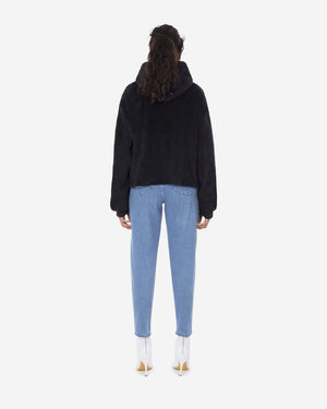 Sherpa Cropped Hooded Sweatshirt