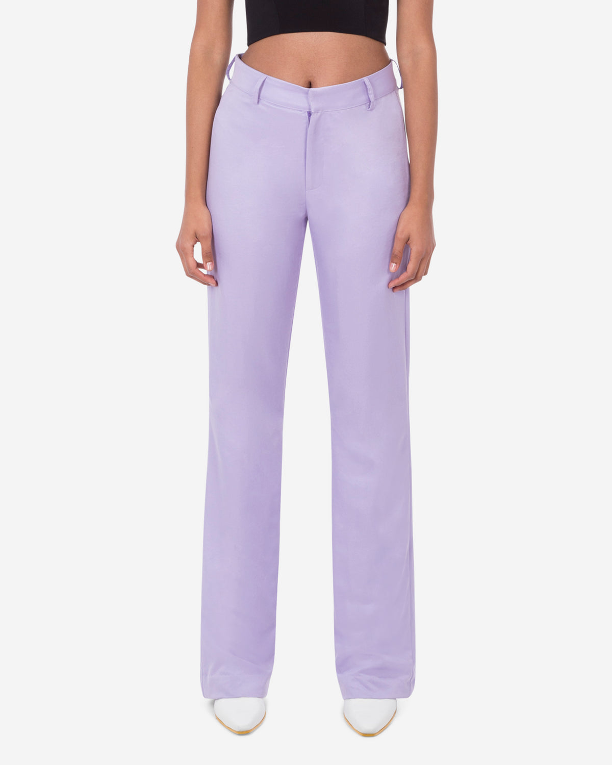 Mid-Rise Flared Leg Trouser
