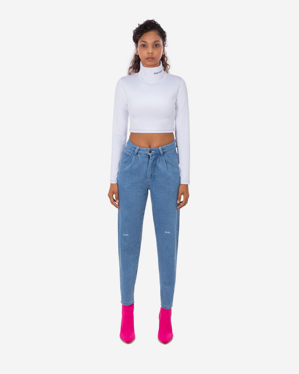 Pleated Slim Cropped Jean