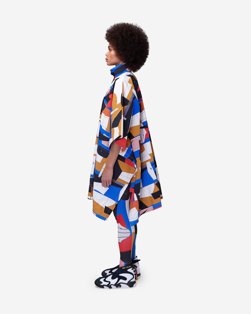 Derrick Adams Allover Print Zipped Poncho