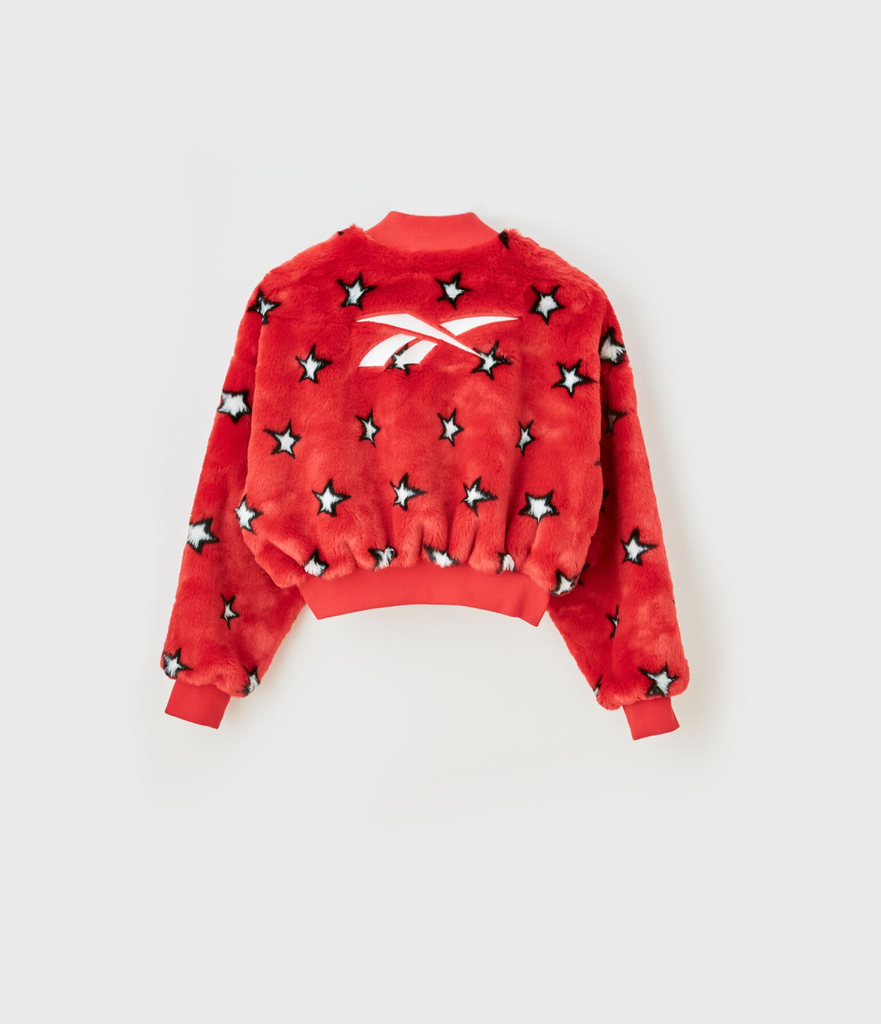 """Stars"" Printed Embroidered Logo Faux Fur Bomber Jacket"