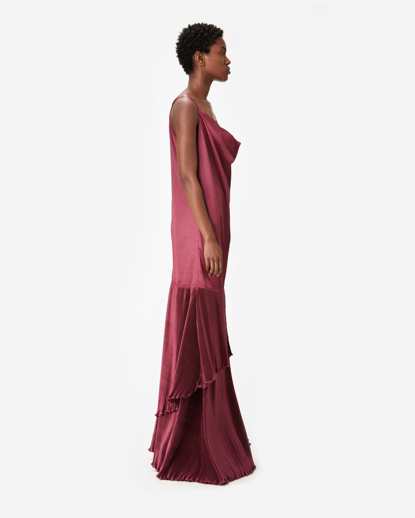 Diamond Pleat Sleeveless Long Dress
