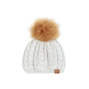 Unisex knit hat with fur pompom - Miles Baby