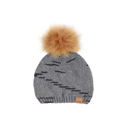 Knit hat with fur pompom - Miles Baby