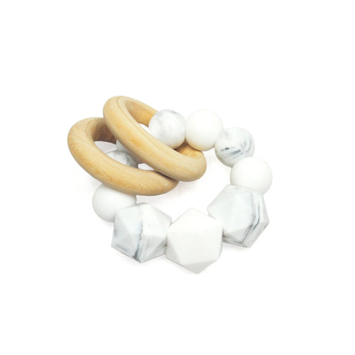 SILICONE & WOOD MINI RATTLE - MARBLE + WHITE