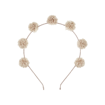 TULLE POM POM HEADBAND - NATURAL
