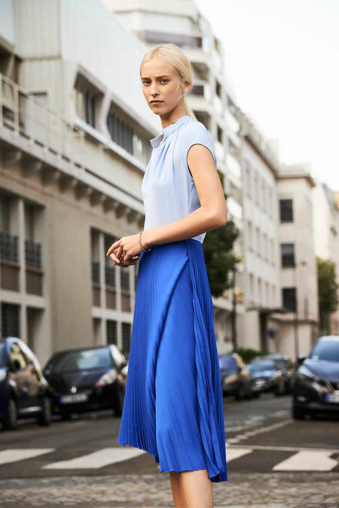 Rebecca Pleated Dress in Cobalt Blue