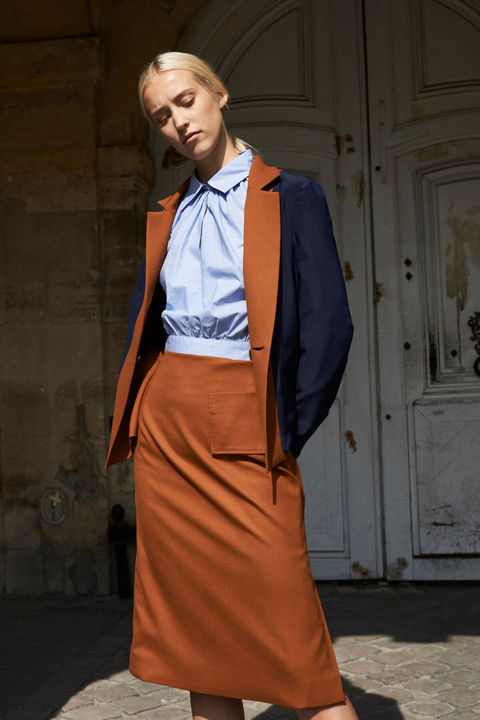 Smith Skirt in Brown Washable Wool Blends