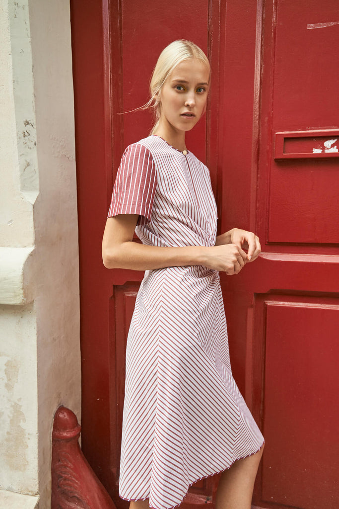 Ava Dress in Contrast Red Stripes