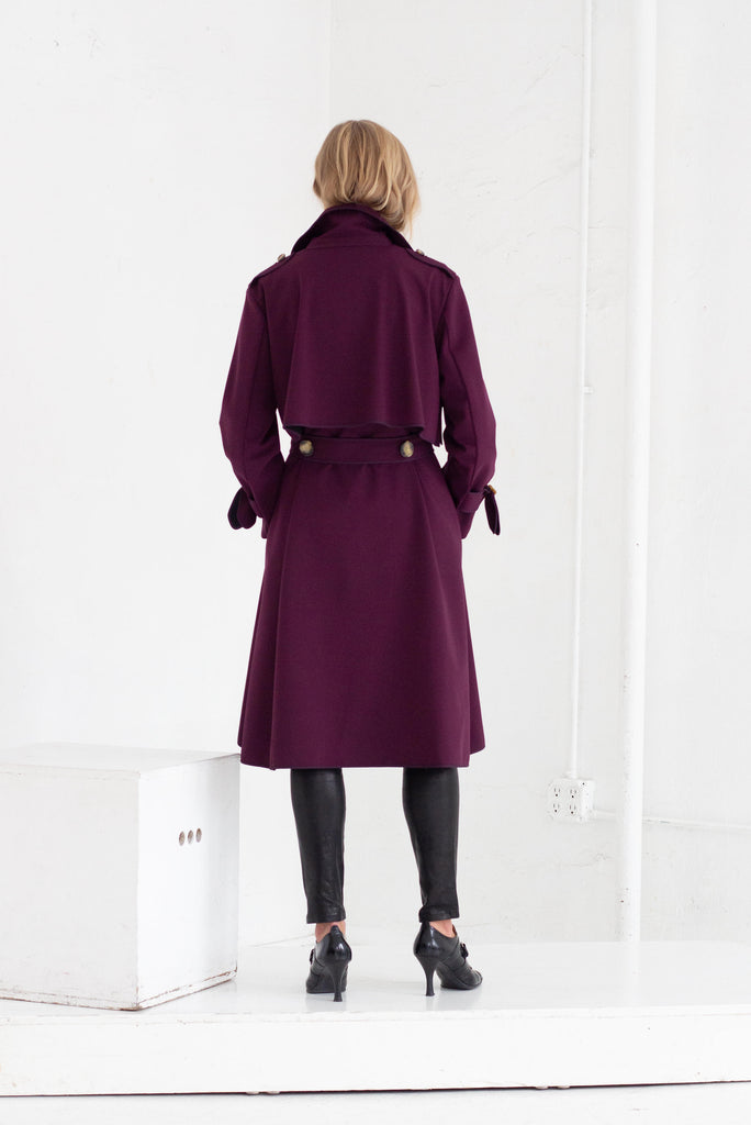SASHA TRENCH COAT IN PURPLE