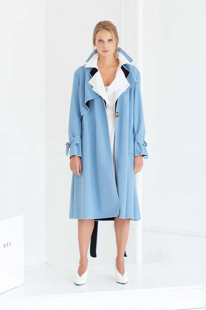 SASHA TRENCH COAT IN CLOUDY BLUE