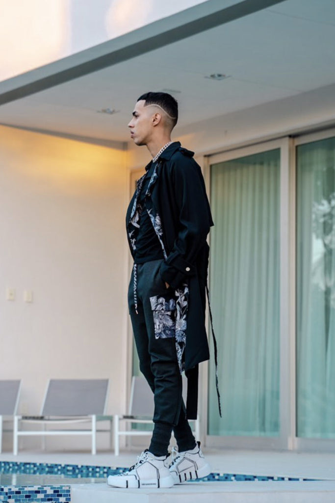 Sam Trench Coat in Black as seen on Brytiago