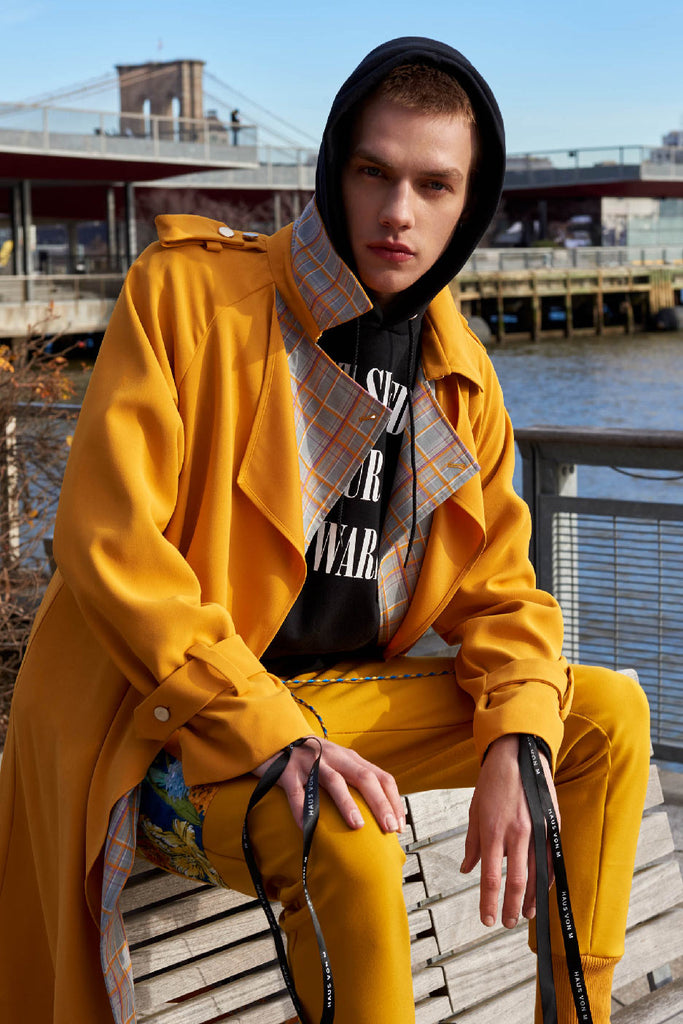 Alex Trench Coat in Yellow Unisex
