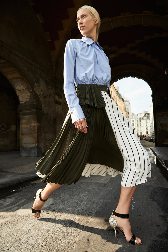 Accordion Pleated Skirt with Belt in Army Green and Cream Stripe