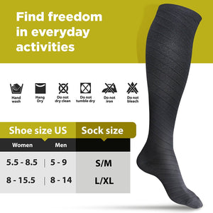 Size Guide Black Compression Socks - 4well