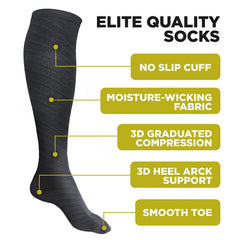 Elite Quality Black Compression Socks - 4well