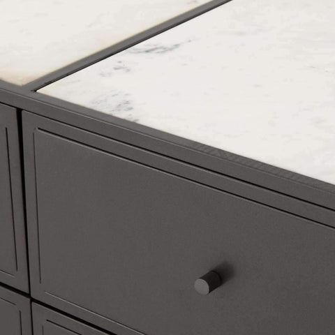 GREY METAL AND MARBLE BEDROOM CABINETS-furniture stores regina-Hunters Furniture