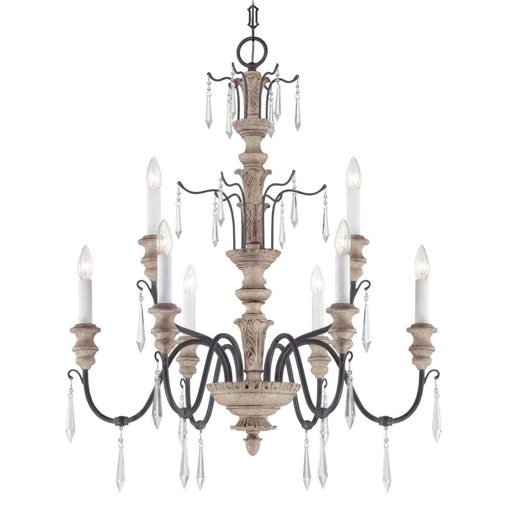 (Item Discontinued) Madeliane 9 Light Chandelier Distressed White Wood and Iron