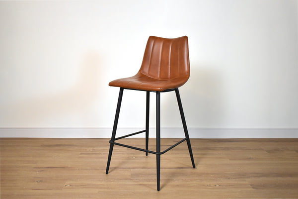 "SEATTLE Brown Leather   -   37"" Counter Stool"
