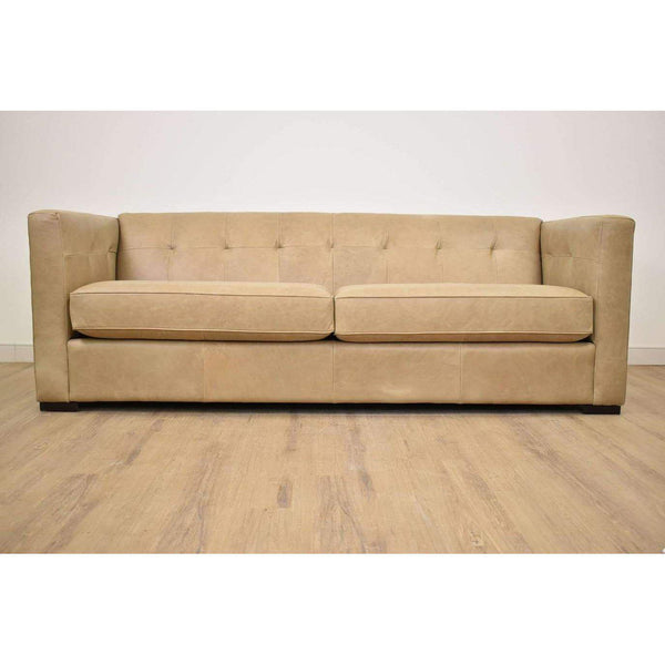 "(Fabric Discontinued) Sofa Leather Taupe 90""L x 39""W x 31""H -  FINAL SALE!-furniture stores regina-Hunters Furniture"