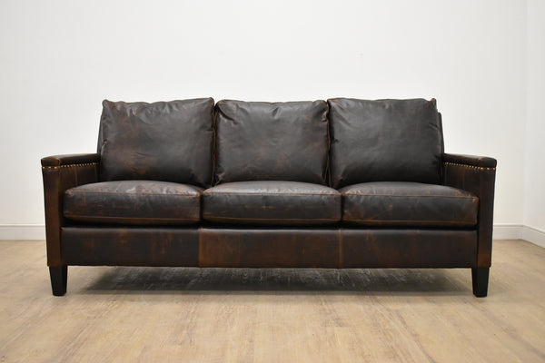 BALTHAZAR Leather Condo Sofa in Old Gold Nailheads (7) Equestrian Chocolate 76""