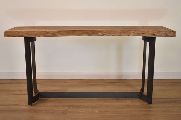 "WHISTLER Natural Tree Colors with Smoked Finish and Live Edge Exotic Hardwood - 68"" Console/Sofa Table-furniture stores regina-Hunters Furniture"