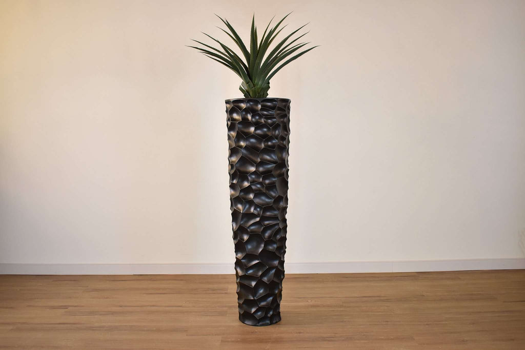 BLACK FIBER TEXTURED POT 18 x 18 x 60 potted with ARTIFICIAL GREEN DRACAENA 32 x 32 x 28-furniture stores regina-Hunters Furniture