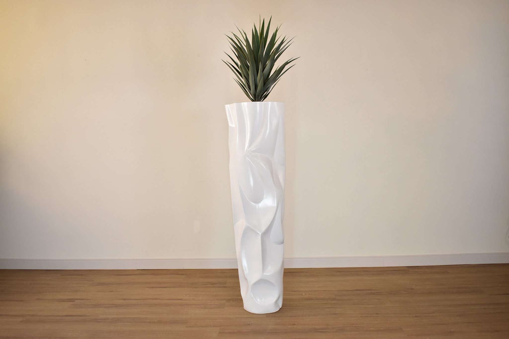 WHITE FIBER TEXTURED POT 12 x 12 x 36 potted with ARTIFICIAL GREEN AGAVE 20 x 20 x 28-furniture stores regina-Hunters Furniture
