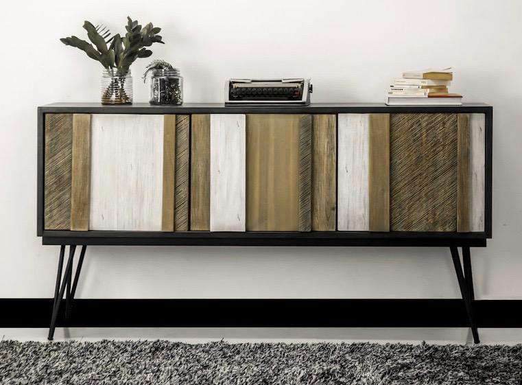 "THE SILVER LAKE Light Brown with Shades of Grey Exotic Hardwood - 61"" Sideboard-furniture stores regina-Hunters Furniture"