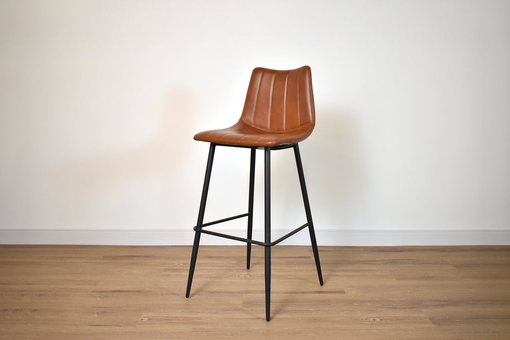 "SEATTLE Brown Leather   -   42"" Bar Stool"