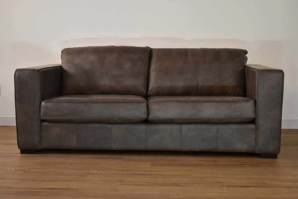 "TORONTO Grey Leather - 85"" Sofa-furniture stores regina-Hunters Furniture"