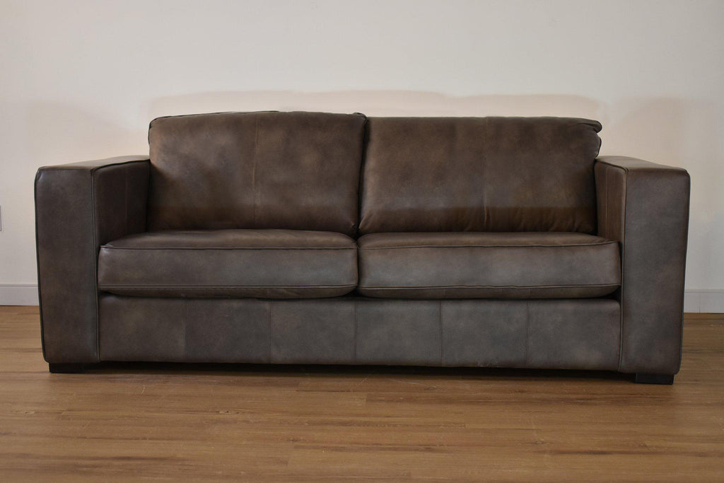 "TORONTO Grey Leather - 65"" Loveseat-furniture stores regina-Hunters Furniture"