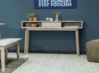 "MADERA Light Grey Exotic Hardwood - 55"" Console/Sofa Table-furniture stores regina-Hunters Furniture"