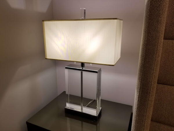 "5TH AVE White Glass - 27"" Table Lamp-furniture stores regina-Hunters Furniture"