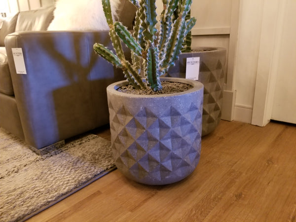 "Concrete Grey Poly Resin - 15"" Planter-furniture stores regina-Hunters Furniture"