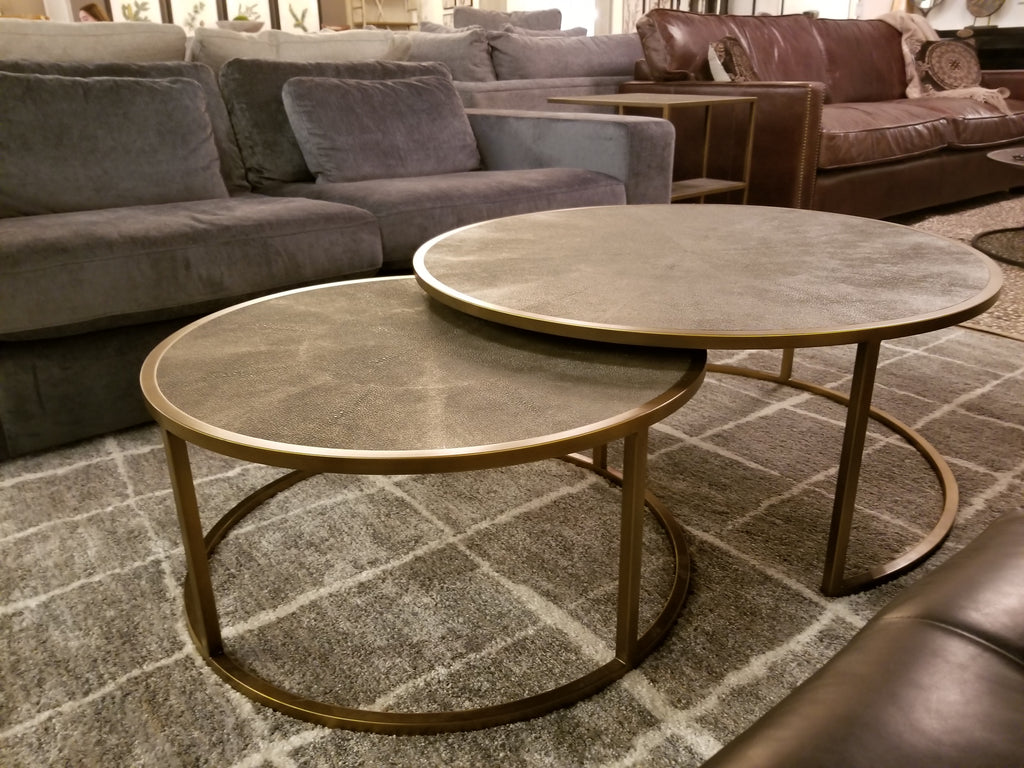 "SHAGREEN Grey Metal - 38"" Coffee Table-furniture stores regina-Hunters Furniture"