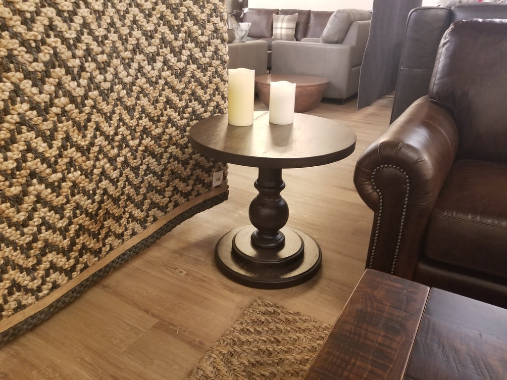 "Arta End Table 24"" Round 24""R x 22.5""H Cappuccino WM2 Wormy Maple Rough Sawn-furniture stores regina-Hunters Furniture"