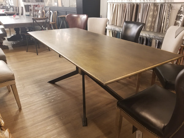 "N342 Bright Brass Clad Wood - 79"" Dining Table-furniture stores regina-Hunters Furniture"