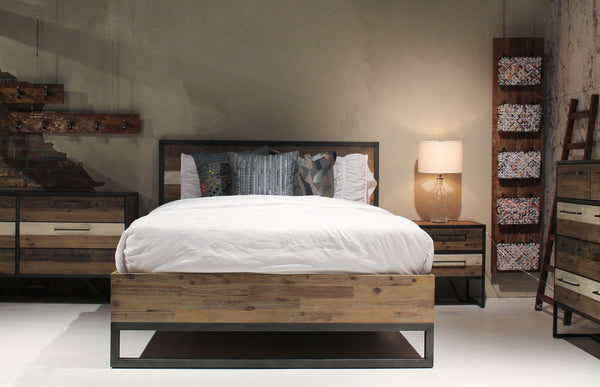 "SILVER LAKE 84"" King Bed Grey and Brown Exotic Hardwood"