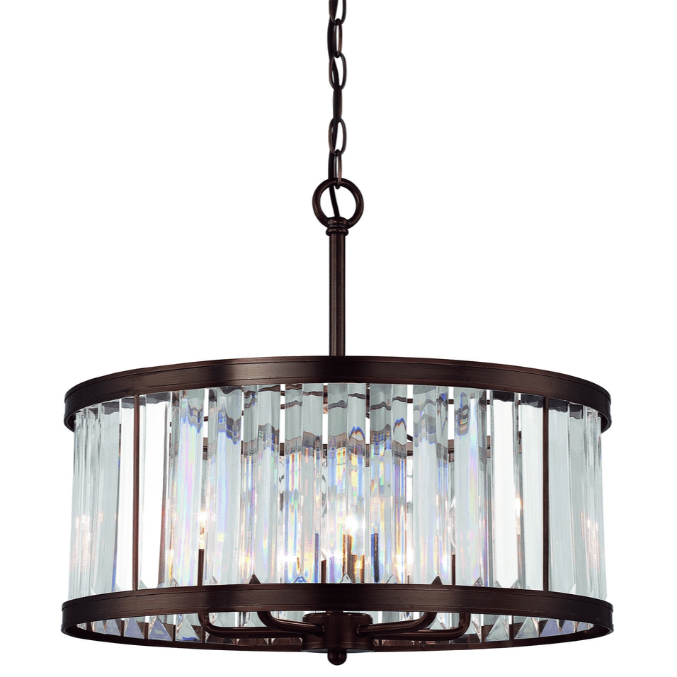 (Item Discontinued) Tierney 5 Light Pendant Burnished Bronze-furniture stores regina-Hunters Furniture