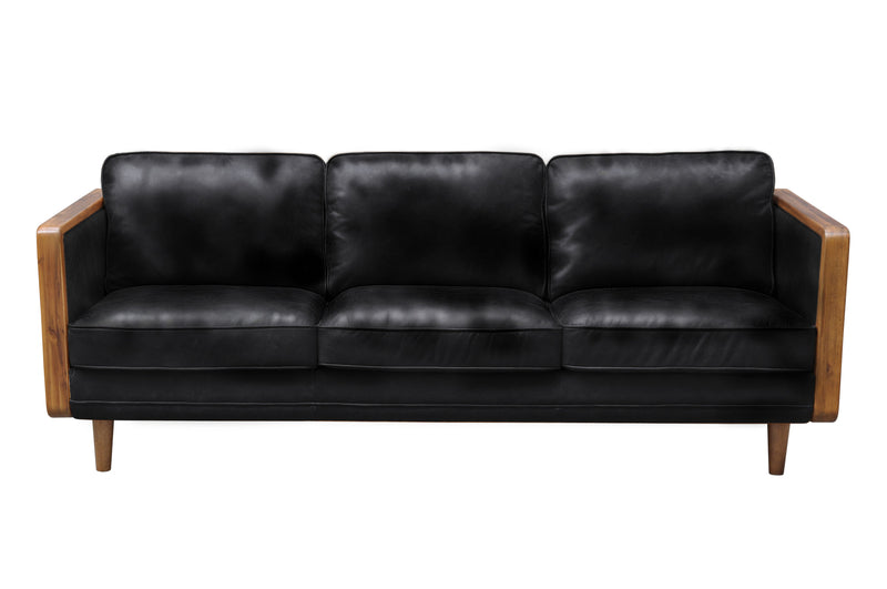 "SILVER LAKE CASUAL Black Leather - 82"" Sofa-furniture stores regina-Hunters Furniture"