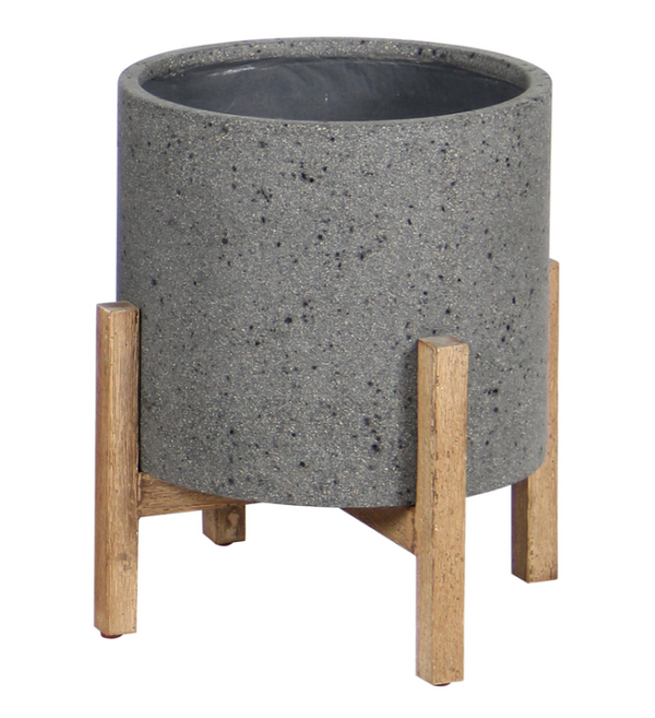 "N388 Round Grey Stone/Wood - 19"" Planter-furniture stores regina-Hunters Furniture"