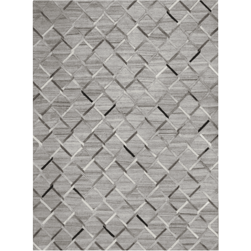 Handwoven - Wool, soft viscose & cowhide - Silver Fabric - 8x10 Rug-furniture stores regina-Hunters Furniture