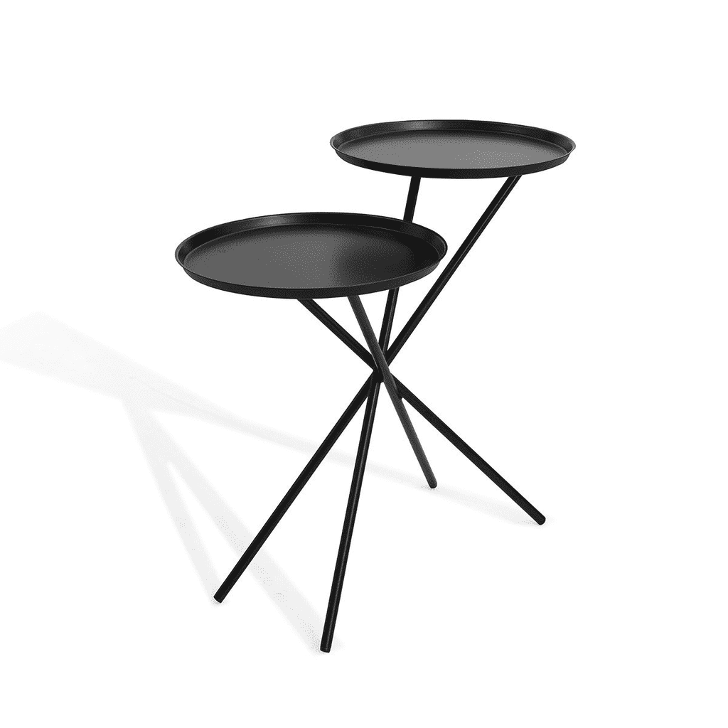 Nest Double Tray Side Table brushed in Black. Dimensions: Dia 26'' x Dia 14'' x H 22''-furniture stores regina-Hunters Furniture
