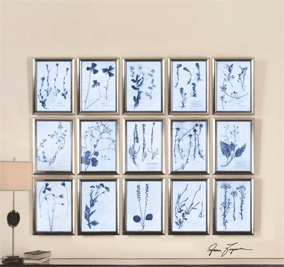 "Blue & White Set of 15 Metal - 19"" Wall Art-furniture stores regina-Hunters Furniture"