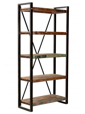 Railwood Collection BookshelfW/ RECLAIMED WOOD L71*W16*H93-furniture stores regina-Hunters Furniture
