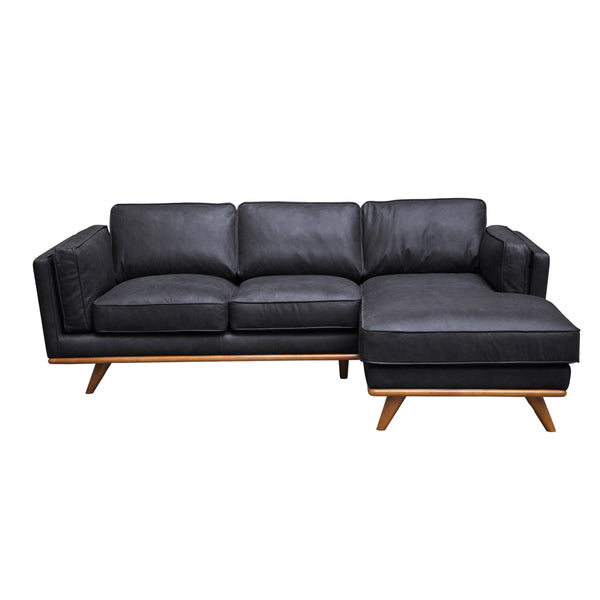 "SILVER LAKE PLUSH Black Leather - 89"" Sofa Chaise-furniture stores regina-Hunters Furniture"